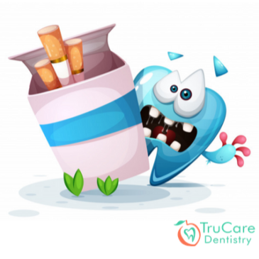 How does smoking cigarettes result in dental implant failure?