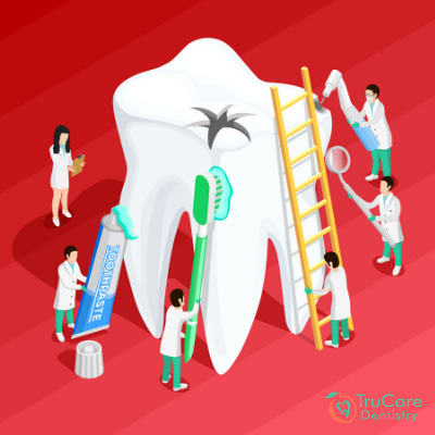 What are the treatment options for deep cavities and related teeth damage